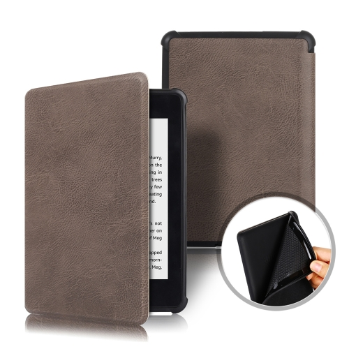 Cowhide Texture TPU Horizontal Flip Leather Case for Amazon Kindle Paperwhite 2018, with Sleep / Wake-up Function (Dark Gray)