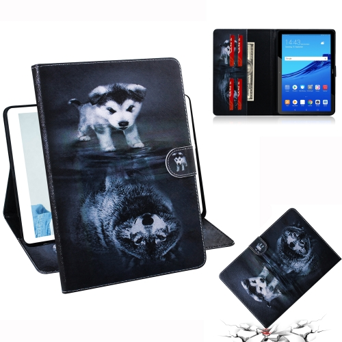 Wolf and Dog Pattern Horizontal Flip Leather Case for Huawei MediaPad T5, with Holder & Card Slot & Wallet