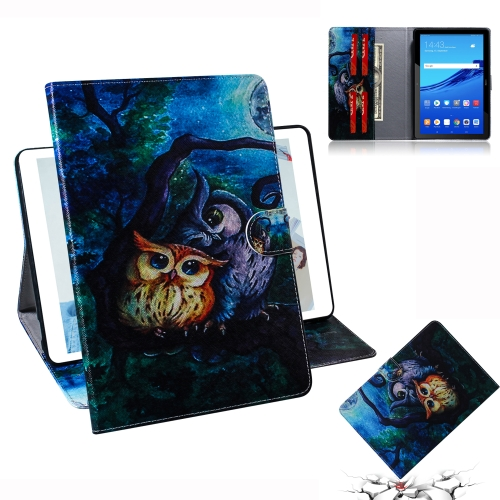 Oil Owl Pattern Horizontal Flip Leather Case for Huawei MediaPad T5, with Holder & Card Slot & Wallet