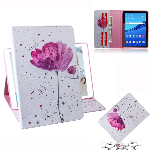 Purple Orchids Pattern Horizontal Flip Leather Case for Huawei MediaPad T5, with Holder & Card Slot & Wallet