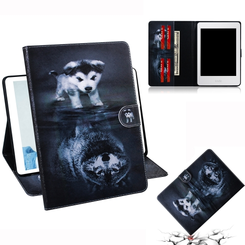 Wolf and Dog Pattern Horizontal Flip Leather Case for Amazon Kindle Paperwhite 4 (2018) / 3 / 2 / 1, with Holder & Card Slot & Wallet