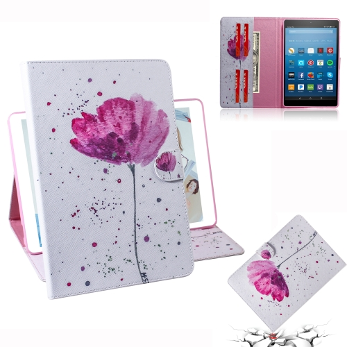 Purple Orchids Pattern Horizontal Flip Leather Case for Amazon Kindle Fire HD 8 2015/2016/2017/2018, with Holder & Card Slot & Wallet