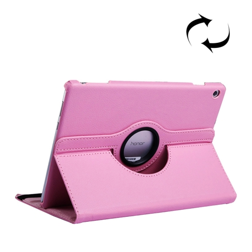 Litchi Texture Horizontal Flip 360 Degrees Rotation Leather Case for Huawei MediaPad T5 10.1, with Holder (Pink)