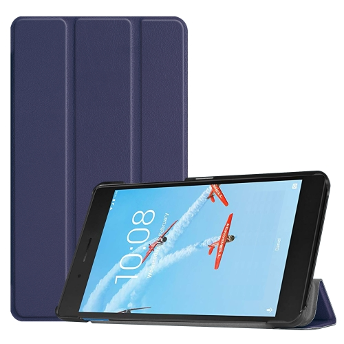 Custer Texture Horizontal Flip PU Leather Case for Lenovo E7 / TB-7104F, with Three-folding Holder (Dark Blue)