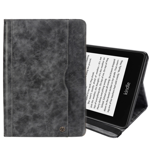 Horizontal Flip Double Holder Leather Case for Amazon Kindle Paperwhite 4 (2018), with Card Slots & Wallet & Pen Slot (Grey)