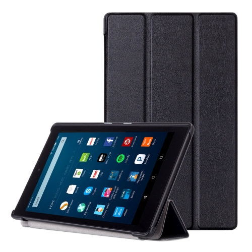 Buy For Amazon Fire HD 8 (2016 Version) Custer Texture Horizontal Flip Solid Color Leather Case with Three-folding Holder, Black for $3.94 in SUNSKY store