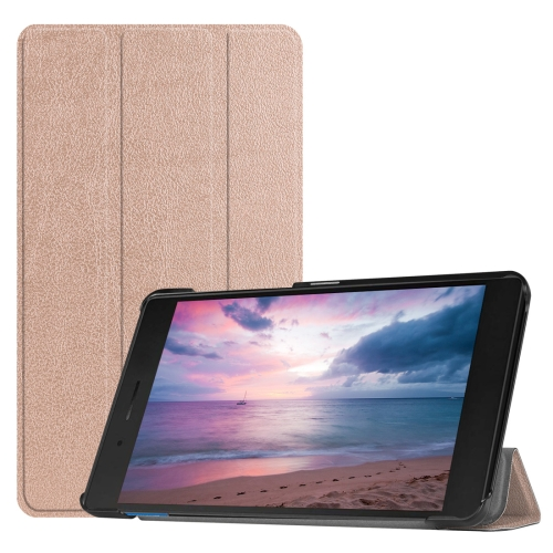 Custer Texture Horizontal Deformation Flip Leather Case for Lenovo Tab E8 TB-8304F, with Three-folding Holder (Rose Gold)
