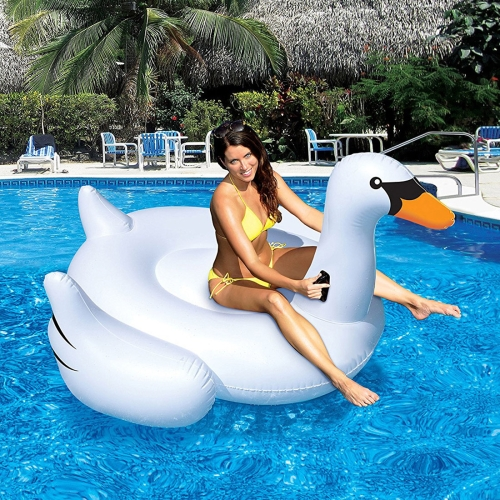 Inflatable Swan Shaped Floating Mat Swimming Ring, Inflated Size: 150x150x130cm