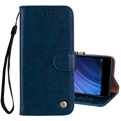 Buy Xiaomi Redmi 4A Business Style Oil Wax Texture Horizontal Flip Leather Case with Holder & Card Slots & Wallet & Lanyard, Blue for $2.42 in SUNSKY store