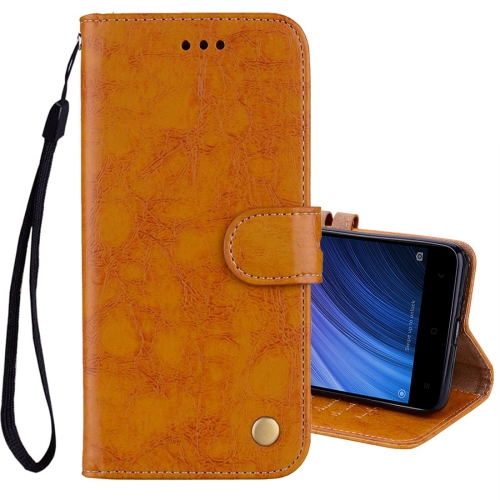 Buy Xiaomi Redmi 4A Business Style Oil Wax Texture Horizontal Flip Leather Case with Holder & Card Slots & Wallet & Lanyard, Yellow for $2.42 in SUNSKY store