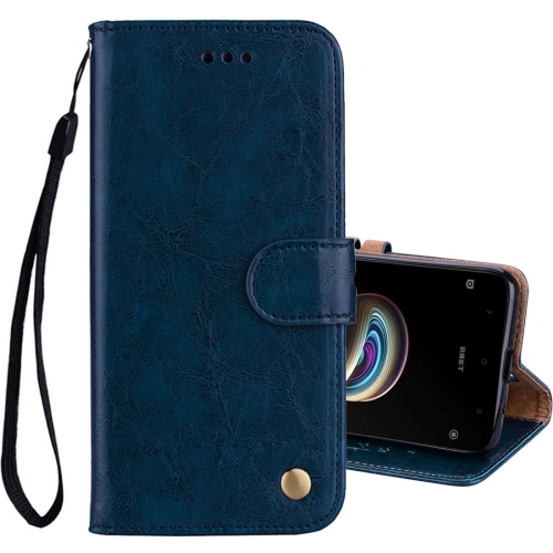 Buy Xiaomi Redmi 5A Business Style Oil Wax Texture Horizontal Flip Leather Case with Holder & Card Slots & Wallet & Lanyard, Blue for $2.42 in SUNSKY store