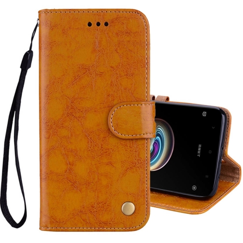 Buy Xiaomi Redmi 5A Business Style Oil Wax Texture Horizontal Flip Leather Case with Holder & Card Slots & Wallet & Lanyard, Yellow for $2.42 in SUNSKY store