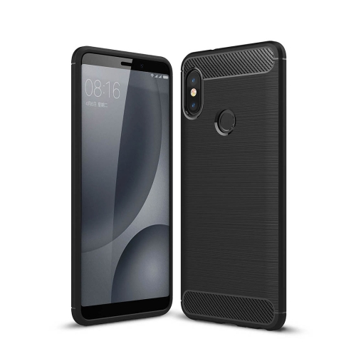 For Xiaomi Redmi Note 5 Pro Brushed Texture Carbon Fiber Shockproof TPU Full-body Rugged Protective Back Cover Case(Black) tpu shockproof case for xiaomi redmi 6 pro black
