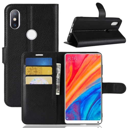 Litchi Texture Horizontal Flip Leather Case for Xiaomi Mi Mix 2S, with Wallet & Holder & Card Slots(Black) xiaomi mi genuine leather wallet