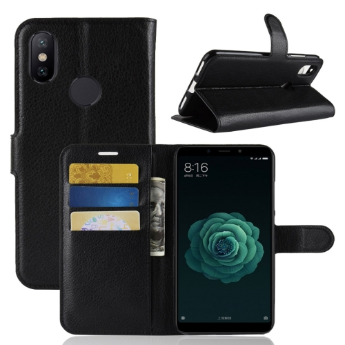 Litchi Texture Horizontal Flip Leather Case for Xiaomi Mi 6X / A2 , with Wallet & Holder & Card Slots(Black) xiaomi mi genuine leather wallet