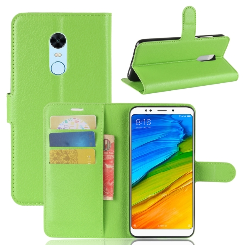 For Xiaomi Redmi 5 Plus Litchi Texture Horizontal Flip Leather Case with Holder & Card Slots & Wallet (Green) ...
