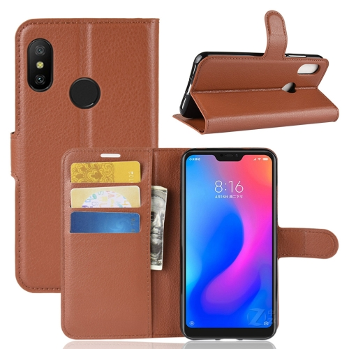 Litchi Texture Horizontal Flip Leather Case for Xiaomi Redmi 6 Pro / Mi A2 Lite, with Wallet & Holder & Card Slots(Brown) ...