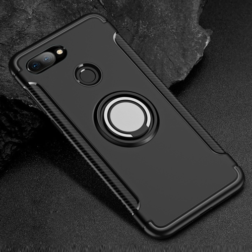 Magnetic 360 Degree Rotation Ring Holder Armor Protective Case for Xiaomi Mi 8 Lite (Black)