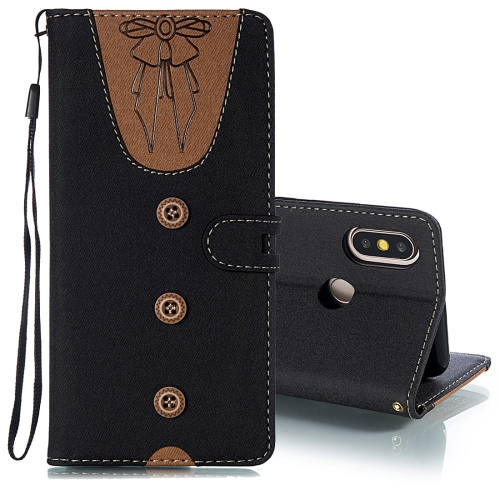 Splicing Embossed Female Style Horizontal Flip Leather Case for Xiaomi Mi 6X / A2 , with Holder & Card Slots & Wallet & Lanyard (Black)