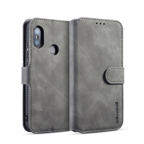 DG.MING Retro Oil Side Horizontal Flip Case for Xiaomi Redmi 6 Pro / MI A2 lite, with Holder & Card Slots & Wallet (Grey)