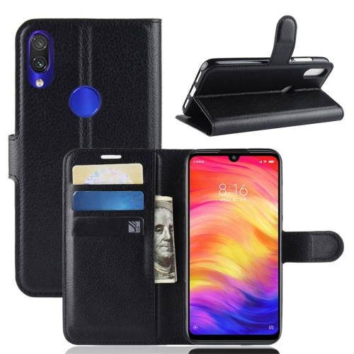 Litchi Texture Horizontal Flip Leather Case for Xiaomi Redmi Note 7, with Wallet & Holder & Card Slots (Black)