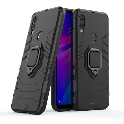 PC + TPU Shockproof Protective Case for Xiaomi Redmi 7, with Magnetic Ring Holder(Black)