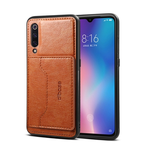 Dibase TPU + PC + PU Crazy Horse Texture Protective Case for Xiaomi Mi 9 SE, with Holder & Card Slots (Brown)