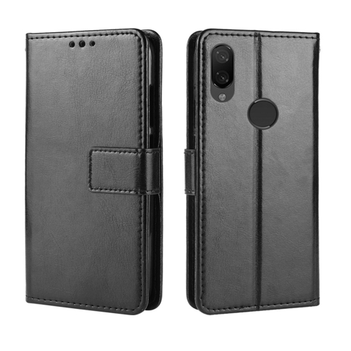 Crazy Horse Texture Horizontal Flip Leather Case for Xiaomi Redmi Note 7, with Holder & Card Slots & Wallet & Lanyard (Black)