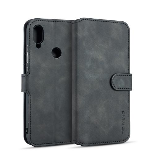DG.MING Retro Oil Side Horizontal Flip Case for Xiaomi Redmi 7, with Holder & Card Slots & Wallet (Black)