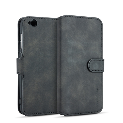 DG.MING Retro Oil Side Horizontal Flip Case for Xiaomi Redmi Go, with Holder & Card Slots & Wallet (Black)