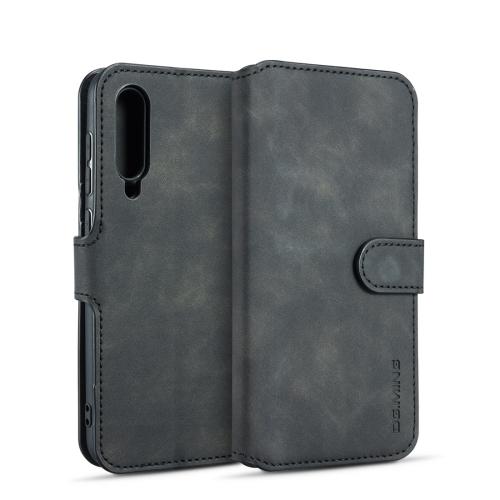 DG.MING Retro Oil Side Horizontal Flip Case for Xiaomi Mi 9, with Holder & Card Slots & Wallet (Black)
