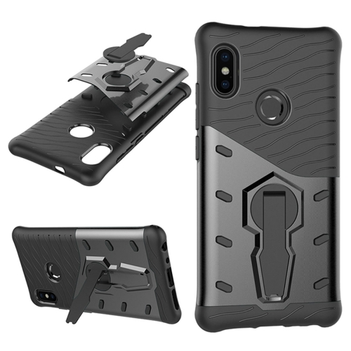For Xiaomi Redmi Note 5 Pro PC + TPU Dropproof Sniper Hybrid Protective Back Case with 360 Degree Rotation Holder(Black) 360 degree rotation pu leather smart case w card slot for samsung galaxy note pro 12 2 p900 black