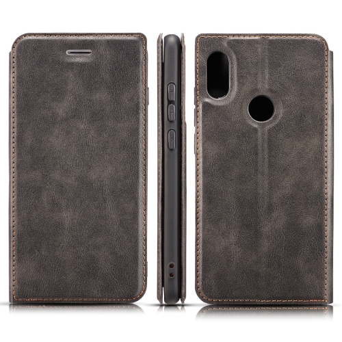 Retro Simple Ultra-thin Magnetic Horizontal Flip Leather Case for Xiaomi Redmi 6 Pro / MI A2 lite, with Holder & Card Slots & Lanyard (Black)