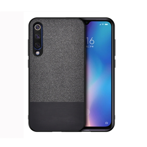 Shockproof Splicing PU + Cloth Protective Case for Xiaomi Mi 9 (Black)