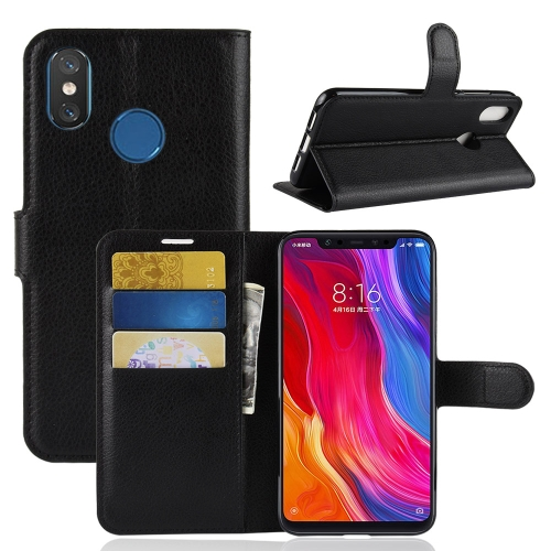 Litchi Texture Horizontal Flip Leather Case for Xiaomi Mi 8, with Wallet & Holder & Card Slots(Black) xiaomi mi genuine leather wallet