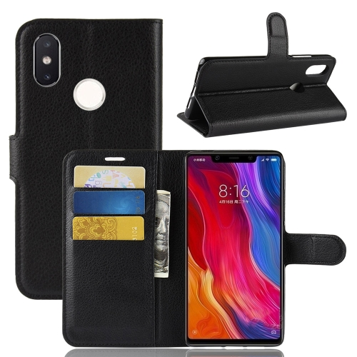 Litchi Texture Horizontal Flip Leather Case for Xiaomi Mi 8 SE, with Wallet & Holder & Card Slots (Black) xiaomi mi genuine leather wallet