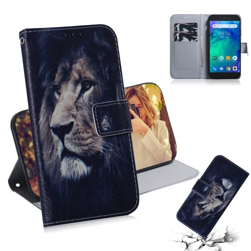 Lion Pattern Coloured Drawing Horizontal Flip Leather Case for Xiaomi Redmi Go, with Holder & Card Slots & Wallet
