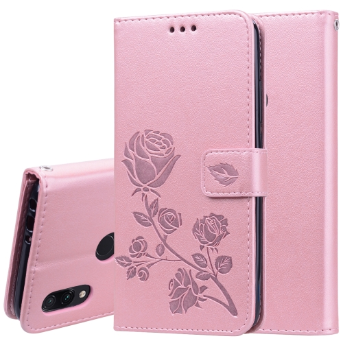 Rose Embossed Horizontal Flip PU Leather Case for Xiaomi Redmi 7, with Holder & Card Slots & Wallet (Rose Gold)