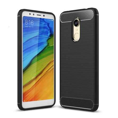 For Xiaomi Redmi 5 Plus Brushed Texture Carbon Fiber Shockproof TPU Rugged Armor Protective Case (Black) ...