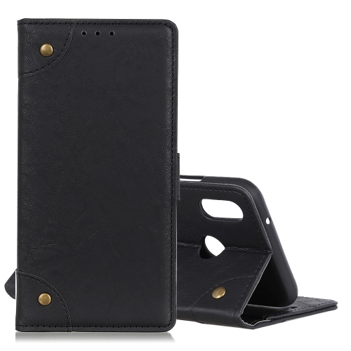Copper Buckle Retro Crazy Horse Texture Horizontal Flip Leather Case for Xiaomi Redmi 7, with Holder & Card Slots & Photo Frame (Black)