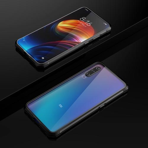 Ultra Slim Magnetic Adsorption Angular Frame Tempered Glass Magnet Flip Case for Xiaomi Mi 9 (Black)
