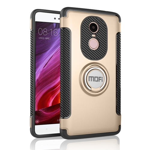Buy MOFI Mysterious Series Xiaomi Redmi Note 4X Shockproof Protective Back Cover Case with Magnetic Rotatable Ring Holder, Gold for $3.96 in SUNSKY store