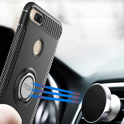 Buy MOFI Mysterious Series Xiaomi Mi 5X Shockproof Protective Back Cover Case with Magnetic Rotatable Ring Holder, Black for $3.96 in SUNSKY store