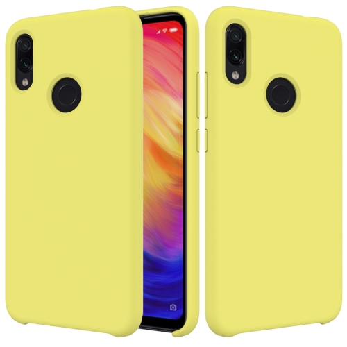 Solid Color Liquid Silicone Dropproof Protective Case for Xiaomi Redmi Note 7(Yellow)