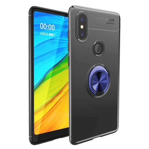 Shockproof TPU Case for   Xiaomi Redmi Note 6 Pro, with Holder (Black Blue)