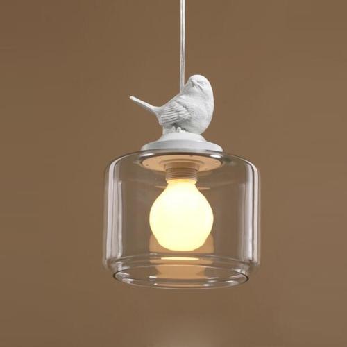 YWXLight Nordic Modern Hanging Lamp Transparent Birdcage Glass Pendant Light LED E27 Ceiling Light Perfect for Kitchen Dining Room Bedroom (Wram White)