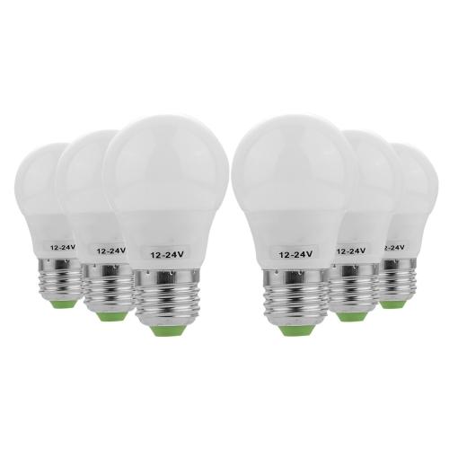 YWXLight 6PCS E27 3W AC/DC 12-24V 6LEDs 5730SMD LED Bulb (Cold white)