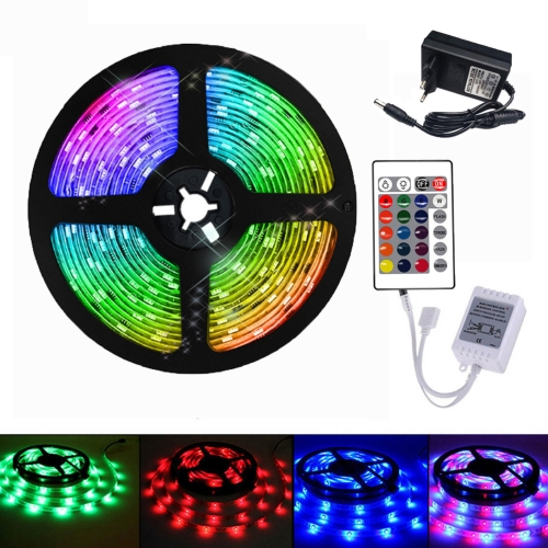 YWXLight 5M 2835SMD RGB LED Strip Light with 24 Key Remote Control, EU Plug