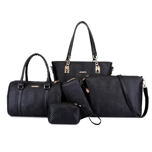 5 in 1 Casual PU Shoulder Bag Weave Pattern Ladies Handbag Messenger Bag