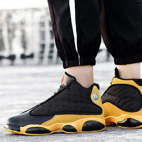 Round Head Outdoor Lightweight High-top Casual Shoes for Men (Color:Black Yellow Size:42)